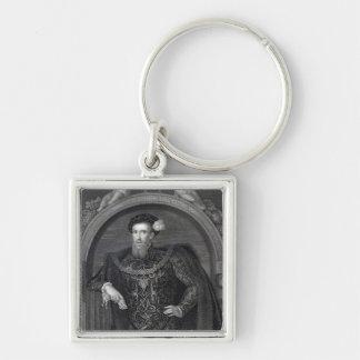 Portrait de comte de Henry Howard de Surrey Porte-clé Carré Argenté