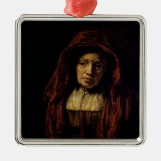 Portrait de dame âgée ornement carré argenté