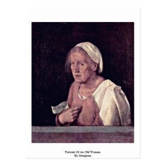 Portrait de dame âgée par Giorgione Carte Postale