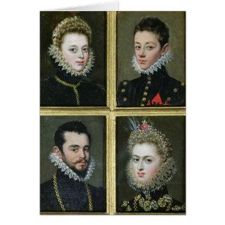 Portrait de deux hommes et de deux femmes cartes
