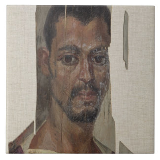 Portrait de Fayum (cire d'encaustic sur le bois) Grand Carreau Carré