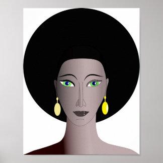 Portrait de femelle d'Afro-américain Posters