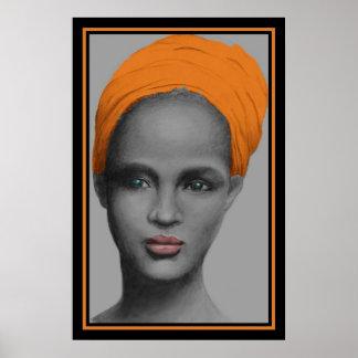 Portrait de femme d'Afro-américain Affiche
