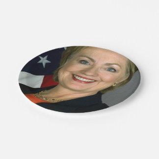 Portrait de fonctionnaire de Hillary Clinton Assiettes En Papier