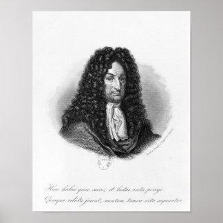 Portrait de Gottfried Wilhelm baron de Leibniz Affiche