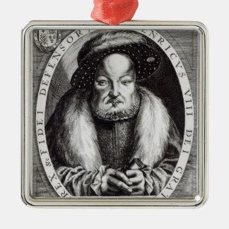 Portrait de Henry VIII Ornement Carré Argenté