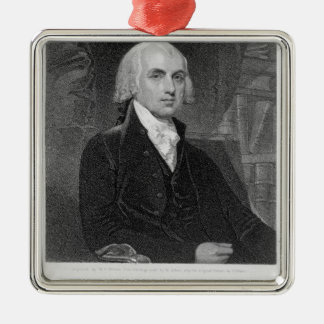 Portrait de James Madison, gravé par William A. Ornement Carré Argenté