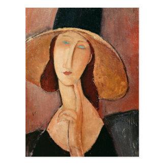 Portrait de Jeanne Hebuterne dans un grand Carte Postale