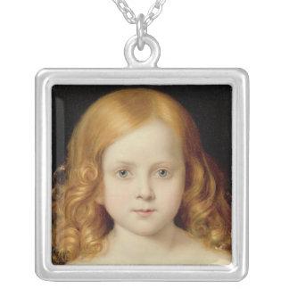 Portrait de la fille de l'artiste pendentif carré