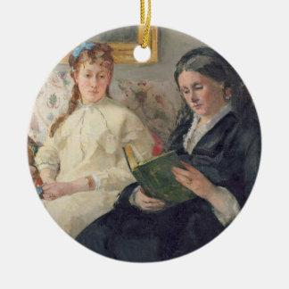 Portrait de la mère et de la soeur de l'artiste ornement rond en céramique