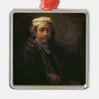 Portrait de l'artiste à son chevalet, 1660 ornement carré argenté