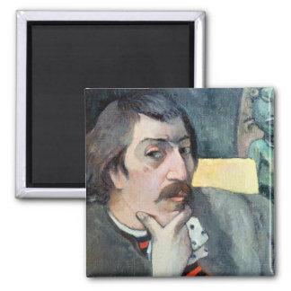 Portrait de l'artiste avec l'idole, c.1893 magnet carré