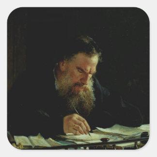 Portrait de Lev Tolstoy Sticker Carré