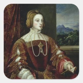 Portrait de l'impératrice Isabella du Portugal Sticker Carré