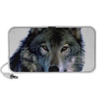 Portrait de loup haut-parleurs ordinateur portable