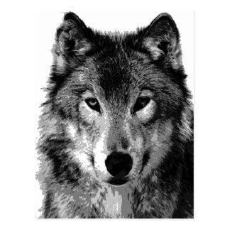 Portrait de loup noir et blanc carte postale