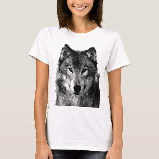 Portrait de loup noir et blanc t-shirt