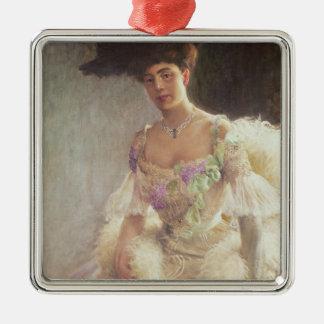 Portrait de Madame dans la robe de soirée, 1903 Ornement Carré Argenté