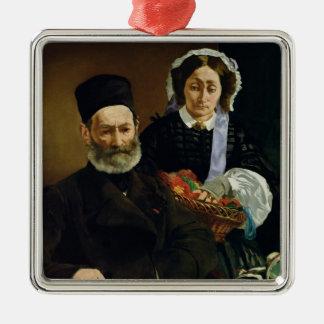 Portrait de Manet | de M et de Mme. Auguste Manet Ornement Carré Argenté