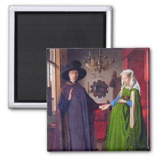 Portrait de mariage avant janvier Van Eyck Magnet Carré