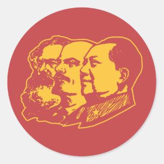 Portrait de Marx Lénine Mao Adhésif Rond