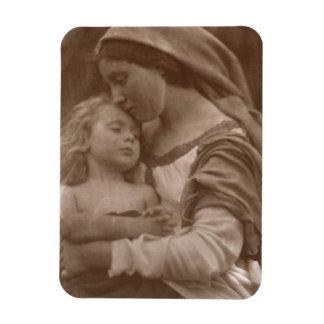 Portrait de mère et d'enfant (photo de sépia) magnets rectangulaire