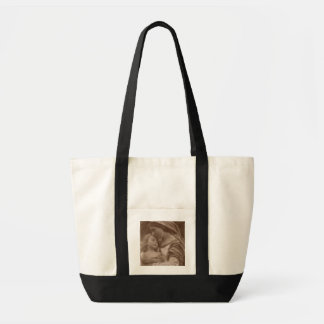 Portrait de mère et d'enfant (photo de sépia) sac de toile
