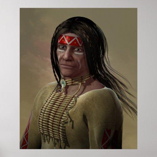 Portrait de Natif américain Poster
