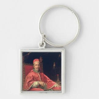 Portrait de pape Clement IX Porte-clé Carré Argenté