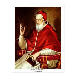 Portrait de pape Pius V. Par EL de Greco Carte Postale