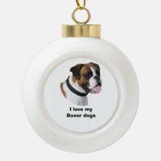 Portrait de photo de chien de boxeur de faon décorations de noël