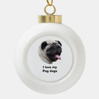 Portrait de photo de chien de carlin décorations de noël