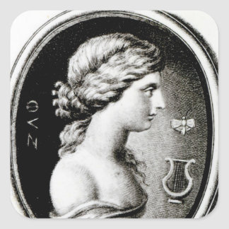 Portrait de Sappho Autocollants Carrés