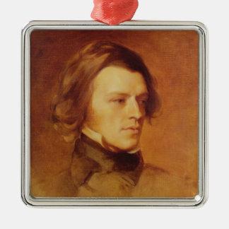 Portrait de seigneur Tennyson d'Alfred Ornement Carré Argenté