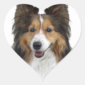 Portrait de Sheltie Sticker Cœur