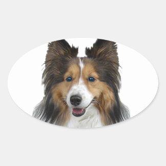 Portrait de Sheltie Sticker Ovale
