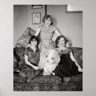 Portrait de Sisters, 1924. Photo vintage Posters