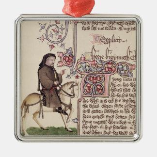 Portrait de télécopie de Geoffrey Chaucer de Ornement Carré Argenté