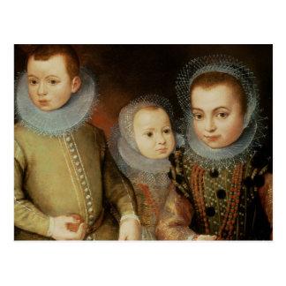 Portrait de trois enfants de Tudor Carte Postale