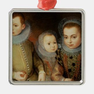 Portrait de trois enfants de Tudor Ornement Carré Argenté