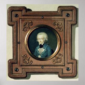 Portrait de Wolfgang Amadeus Mozart, 1773 Affiches