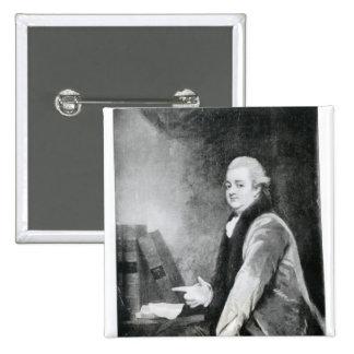 Portrait d'Edward Gibbon Badge Carré 5 Cm