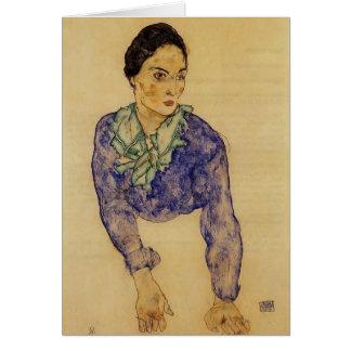Portrait d'Egon Schiele- d'une femme avec Carte De Vœux