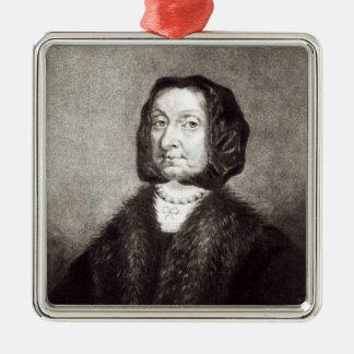 Portrait d'Elizabeth Cromwell Ornement Carré Argenté