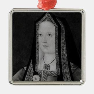 Portrait d'Elizabeth de York Ornement Carré Argenté