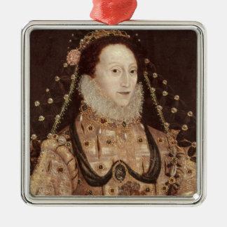 Portrait d'Elizabeth I c.1575-80 Ornement Carré Argenté