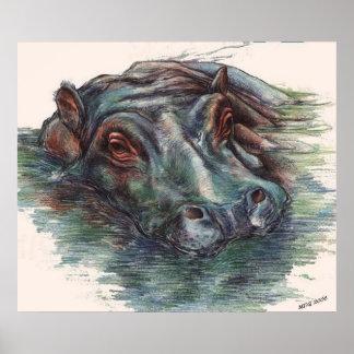 Portrait d'hippopotame de peinture d'hippopotame poster