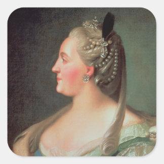 Portrait d'impératrice Catherine II le grand Autocollants Carrés