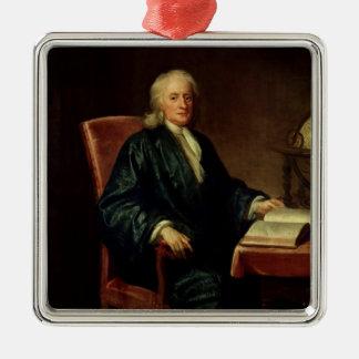 Portrait d'Isaac Newton, c.1726 Ornement Carré Argenté