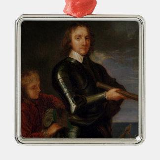 Portrait d'Oliver Cromwell Ornement Carré Argenté